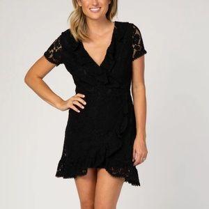 Women's PINKBLUSH black lace dress short sleeve M
